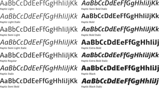 Haptic Basic Font Preview