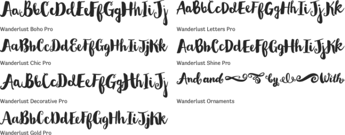 Wanderlust Pro Collection Font Preview