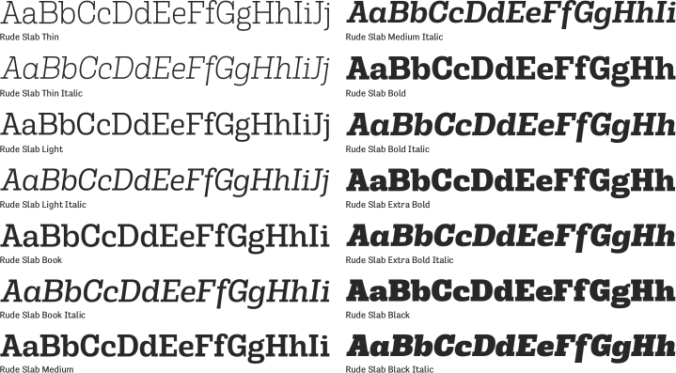 Rude Slab Font Preview