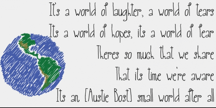 Austie Bost Small World font preview