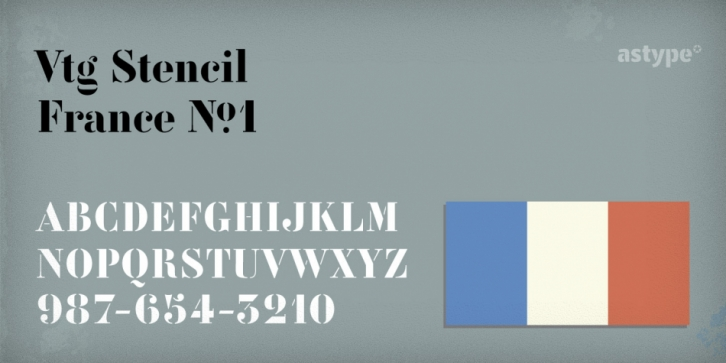 Vtg Stencil France No.1 font preview