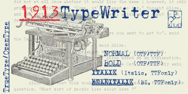 1913 Typewriter font preview