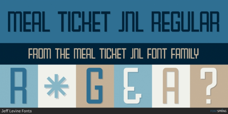 Meal Ticket JNL font preview