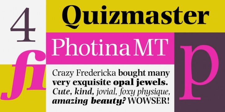 Photina MT font preview