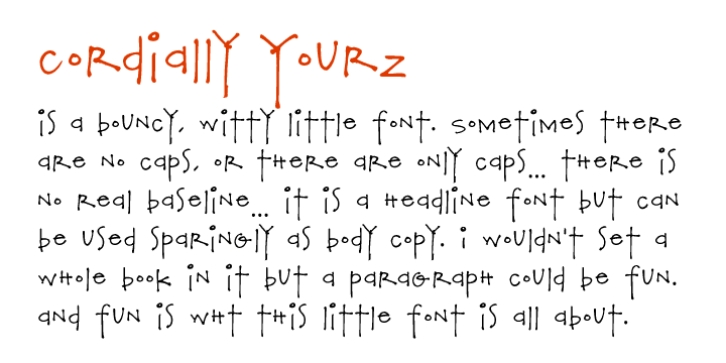 Cordially Yourz font preview